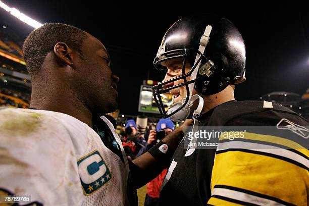 David Garrard of the Jacksonville Jaguars talks to Ben Roethlisberger of the Pittsburgh Steelers after the Jaguars won the AFC Wild Card game on...