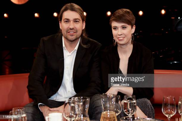 David Garrett and his sister Elena Bongartz during the NDR Talk show on November 22, 2019 in Hamburg, Germany.