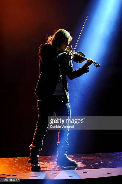 David Garrett performs on stage at the fourth day of the 62th Sanremo Song Festival at the Ariston Theatre on February 17 2012 in Sanremo Italy
