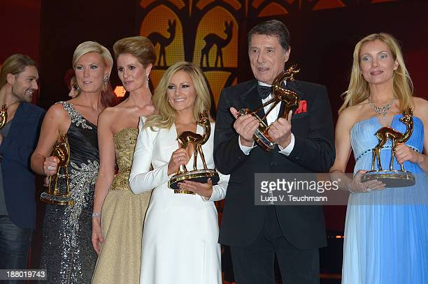 David GarrettKamilla Senjo Karen Webb Helene Fischer Udo Juergens and Nadja Uhl pose on stage at the Bambi Awards 2013 at Stage Theater on November...
