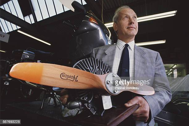 David Garside of the John Player Special Norton RCW588 Wankel Rotary engined motorcycle team with a with an air cooled twin rotor Norton developed...