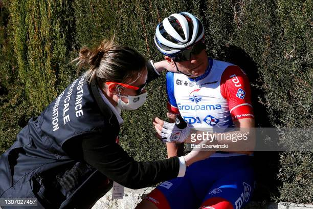 David Gaudu of France and Team Groupama - FDJ during the 79th Paris - Nice 2021, Stage 8 a 92,7km stage from Le Plan-du-Var to Levens 518m / Crash /...