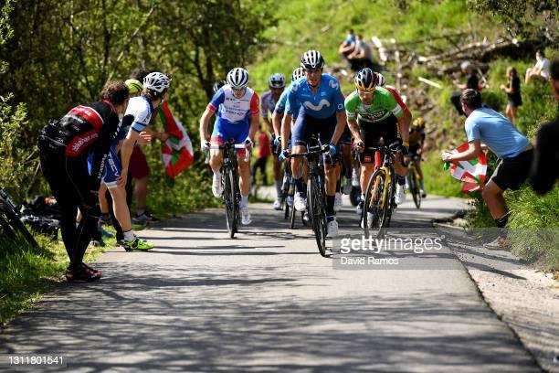 David Gaudu of France and Team Groupama - FDJ, Primoz Roglic of Slovenia and Team Jumbo - Visma Green Points Jersey & Enric Mas Nicolau of Spain and...