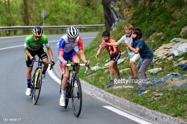 David Gaudu of France and Team Groupama - FDJ & Primoz Roglic of Slovenia and Team Jumbo - Visma Green Points Jersey during the 60th Itzulia-Vuelta...