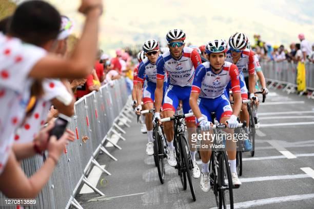 David Gaudu of France and Team Groupama - FDJ / Thibaut Pinot of France and Team Groupama - FDJ / Dropped from Peloton / Disappointment / Rudy Molard...
