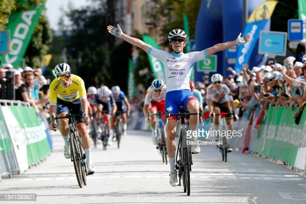 David Gaudu of France and Team Groupama - FDJ white best young rider jersey celebrates at finish line as stage winner ahead of João Almeida of...