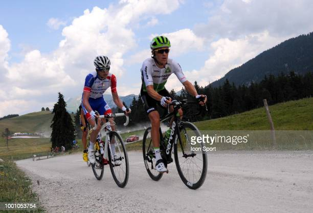 David Gaudu of GroupamaFdj and Serge Pauwels of Dimension Data at Plateau des Glieres during the 105th Tour de France 2018 Stage 10 a 1585km stage...