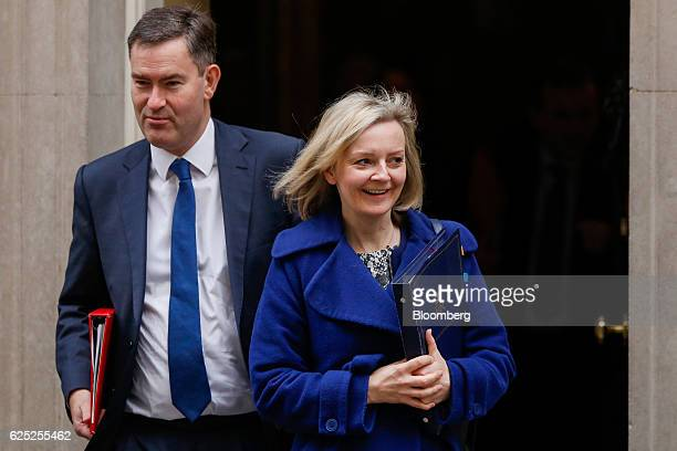 David Gauke chief secretary to the UK Treasury left and Liz Truss UK justice secretary leave following a weekly cabinet meeting at 10 Downing Street...