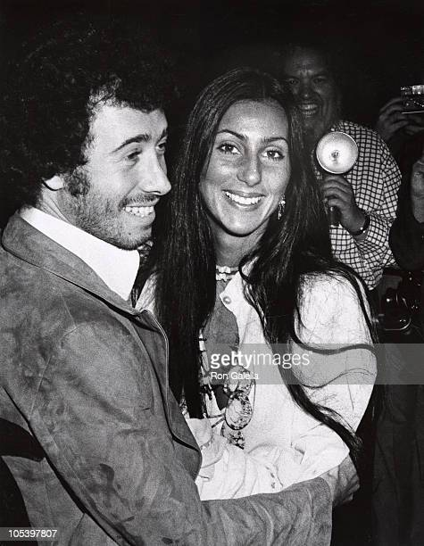 David Geffen and Cher during Jim Stacey Benefit at Century Plaza Hotel in Los Angeles California United States