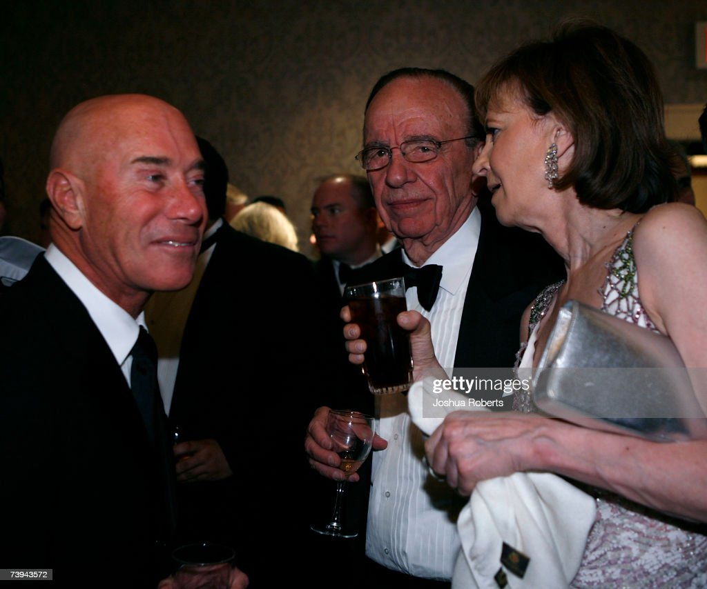 David Geffen (L) and Rupert Murdoch attend the Newsweek party at the White House Correspondents' Association Dinner in April 21, 2007 in Washington, DC.