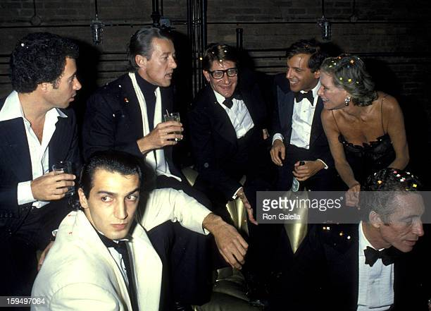 "David Geffen, Halston, Yves Saint Laurent, Steve Rubell, Nan Kempner and Fernando Sanchez attend ""Opium"" Perfume Launch After Party on September 20,..."