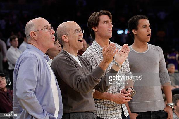 David Geffen Jeffrey Katzenberg Tom Cruise and Conner Cruise attend Game Two of the Western Conference Finals between the Phoenix Suns and the Los...