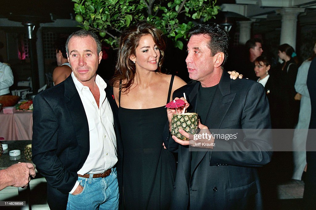 David Geffen, Kelly Klein and Sandy Gallin during Poolside Cocktail Party for Kelly Klein's Book, 'Pools' at Beverly Hills Hotel in Beverly Hills, CA, United States.