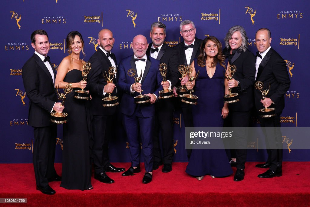 David George, Jordana Hochman, Rob Eric, David Collins, Michael Williams, David Eilenberg, Rachelle Mendez, Jennifer Lane, and Adam Sher, winners of the award for outstanding structured reality program pose in the press room during the 2018 Creative Arts Emmy Awards at Microsoft Theater on September 9, 2018 in Los Angeles, California.