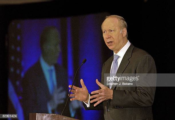 David Gergen Professor of Public Service at Harvard University speaks during the America's Heath Insurance Plans 2005 National Policy Forum March 8...