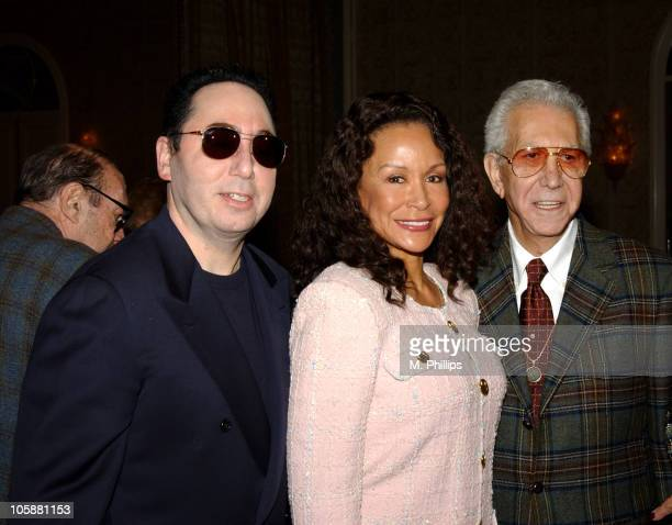 David Gest Freda Payne and Mr Blackwell during Luncheon Honoring David Gest's Upcoming Autobiography at Four Seasons Hotel in Los Angeles California...