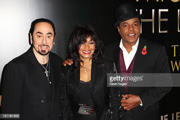 David Gest Rebbie Jackson and Tito Jackson attend the UK premiere of 'Michael Jackson The Life Of An Icon' at The Empire Leicester Square on November...