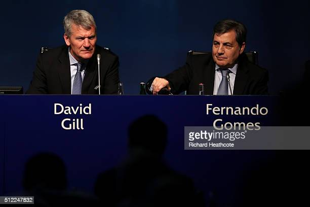 David Gill and Fernando Gomes during the UEFA XI Extraordinary Congress at the Swissotel on February 25 2016 in Zurich Switzerland FIFA will hold a...