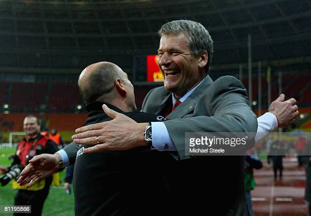 David Gill and Mike Phelan celebrate after the UEFA Champions League Final match between Manchester United and Chelsea at the Luzhniki Stadium on May...