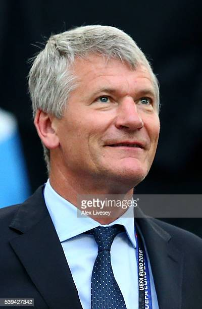 David Gill is seen prior to the UEFA EURO 2016 Group B match between England and Russia at Stade Velodrome on June 11 2016 in Marseille France