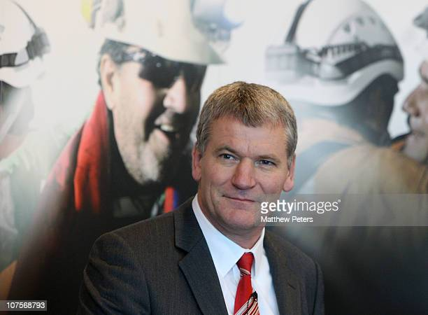 David Gill of Manchester United speaks at a Farewell Reception for 23 of the freed Chilean miners at Old Trafford on December 14 2010 in Manchester...