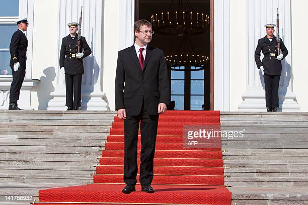 David Gill stands in front of the Bellevue Presidential Palace on March 23, 2012 in Berlin. Joachim Gauck was elected president with an overwhelming...