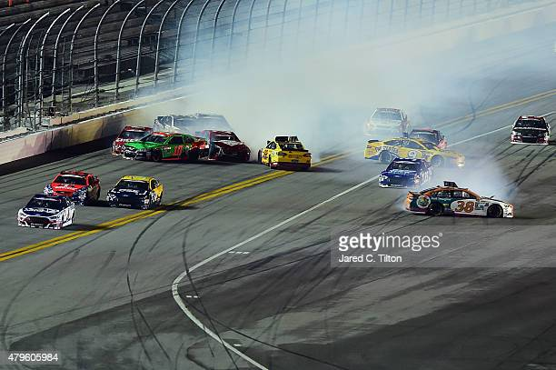 David Gilliland driver of the Florida Lottery Ford Joey Logano driver of the Shell Pennzoil Ford Sam Hornish Jr driver of the Twisted Tea Ford and...