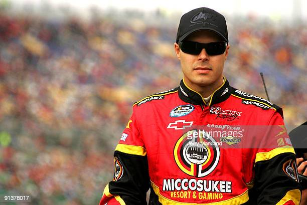 David Gilliland driver of the Miccosukee Indian Gaming Resort Chevrolet during prerace forthe NASCAR Nationwide Series Kansas Lottery 300 at the...