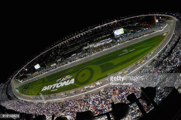 David Gilliland driver of the Pedigree Toyota leads a pack of cars during the NASCAR Camping World Truck Series NextEra Energy Resources 250 at...