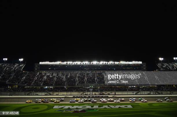 David Gilliland driver of the Pedigree Toyota takes the green flag to start the NASCAR Camping World Truck Series NextEra Energy Resources 250 at...