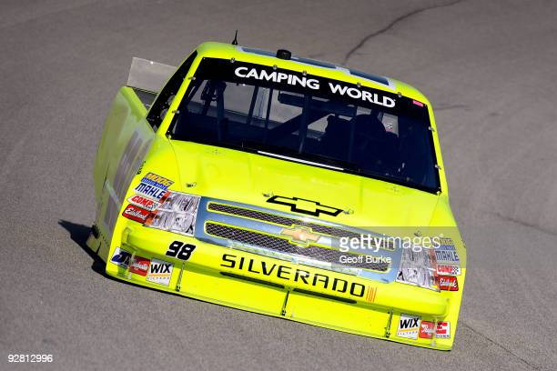 David Gilliland drives the Menards Chevrolet during practice for the NASCAR Camping World Truck Series WinStar World Casino 350 at Texas Motor...