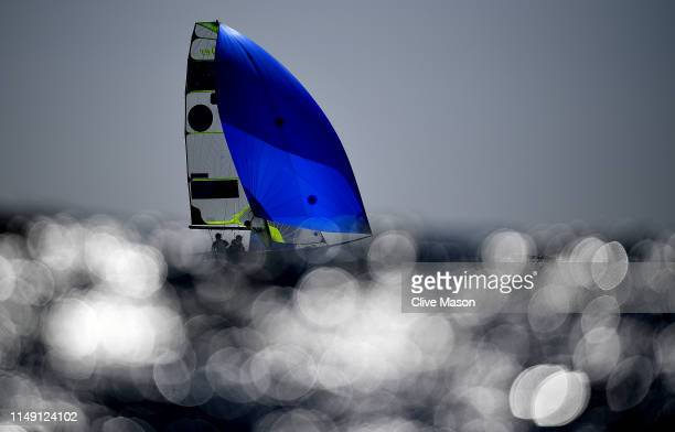David Gilmour and Lach Gilmour of Australia in action during a 49er class race on May 14, 2019 in Weymouth, England.