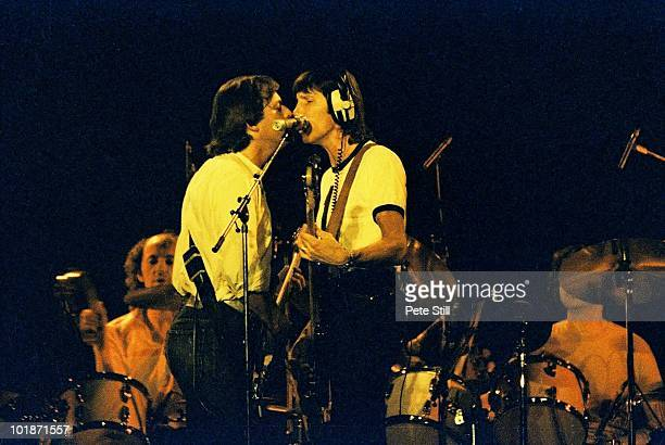 David Gilmour and Roger Waters of Pink Floyd perform on stage at Earls Court Arena on 'The Wall' tour on August 7th 1980 in London England