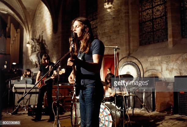 David Gilmour during a concert given by Pink Floyd on June 16th 1971 to the abbey of Royaumont