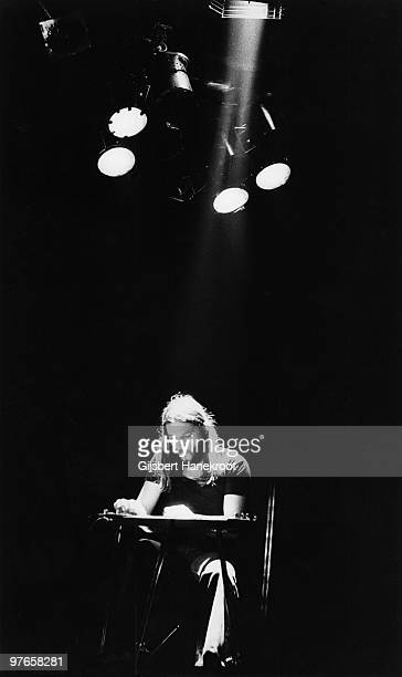 David Gilmour from Pink Floyd performs live on stage at Ahoy in Rotterdam Holland in February 1977 during the Animals tour