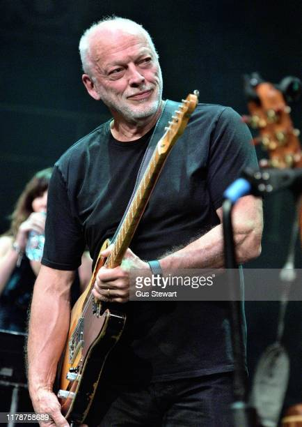 David Gilmour joins Richard Thompson on stage at his 70th Birthday Celebration Show the Royal Albert Hall on September 30, 2019 in London, England.
