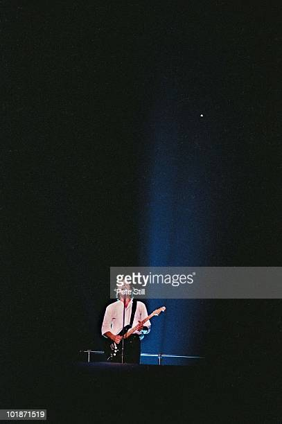 David Gilmour of Pink Floyd performs 'Comfortably Numb' atop the giant wall at Earls Court Arena on 'The Wall' tour on August 7th 1980 in London...