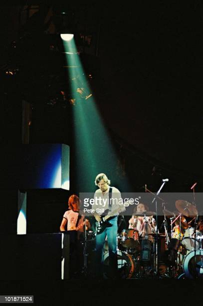 David Gilmour of Pink Floyd performs on stage at Earls Court Arena on 'The Wall' tour on August 7th 1980 in London England