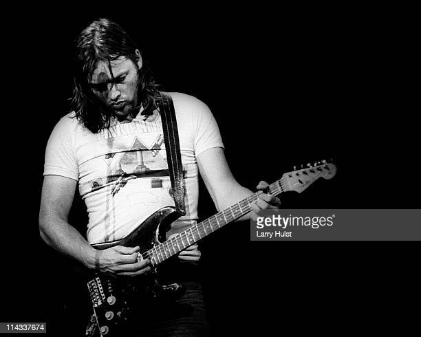 David Gilmour performing with 'Pink Floyd' at the Oakland Coliseum in California on May 9, 1977.