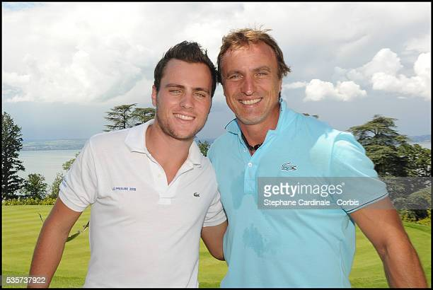 David Ginola and son Andrea attend the Lacoste Lunch, during the Evian Masters 2011.