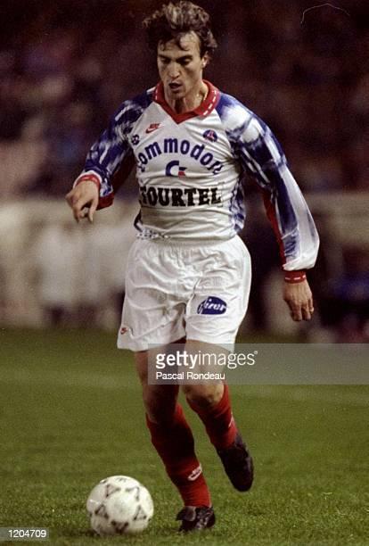 David Ginola of Paris Saint-Germain in action during a French League match against Les Girondins de Bordeaux at Parc des Princes in Paris. Paris...