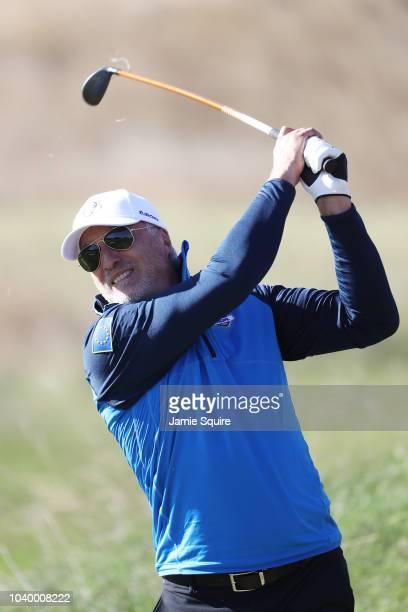 David Ginola of Team Europe plays a shot during the celebrity challenge match ahead of the 2018 Ryder Cup at Le Golf National on September 25 2018 in...