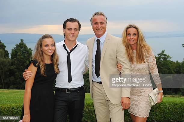 David Ginola, Wife Coralie and their childrens Andrea and Carla attend the Evian Masters 2010.