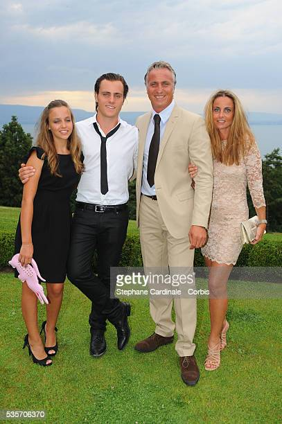 David Ginola Wife Coralie and their childrens Andrea and Carla attend the Evian Masters 2010