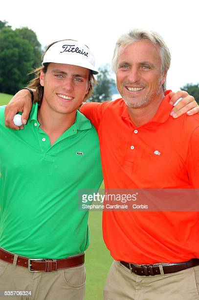 David Ginola with his son Andrea attend the Evian Masters 2010.