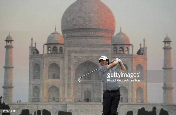 David Gleeson of Australia plays a shot in front of a Taj Majal during day three of the Hero Indian Open 2011 at Delhi Golf Club on October 15, 2011...
