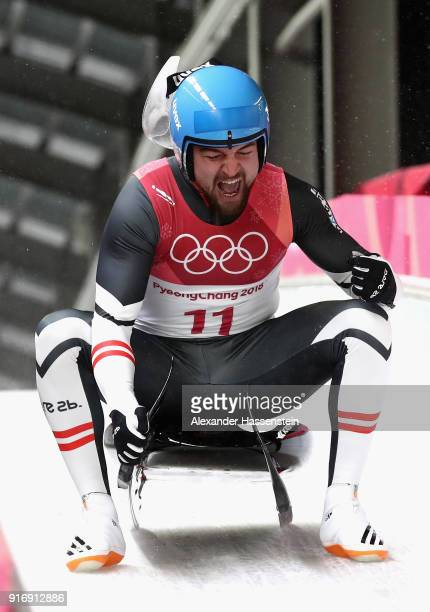David Gleirscher of Austria celebrates winning the gold following run 4 during the Luge Men's Singles on day two of the PyeongChang 2018 Winter...