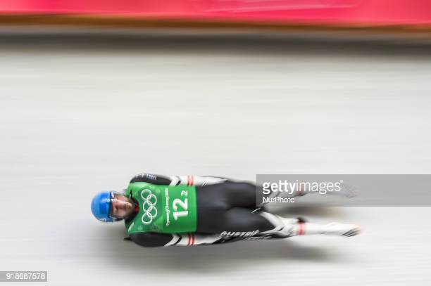 David Gleirscher of Austria competing in luge Team Relay Competition at Olympic Sliding Centre at Pyeongchang South Korea on February 15 2018