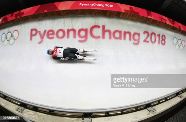 David Gleirscher of Austria slides in run 3 during the Luge Men's Singles on day two of the PyeongChang 2018 Winter Olympic Games at Olympic Sliding...
