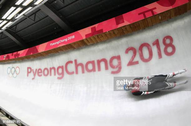 David Gleirscher of Austria slides on his way to winning the gold medal in run 4 during the Luge Men's Singles on day two of the PyeongChang 2018...